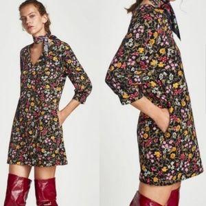 Zara Floral Puff Sleeve Dress NWT